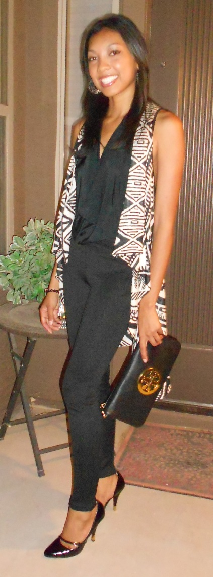 Top- Hottie, Vest- Q, Pants-Forever 21, Shoes- Sheik, Bag- Tory Burch (old)