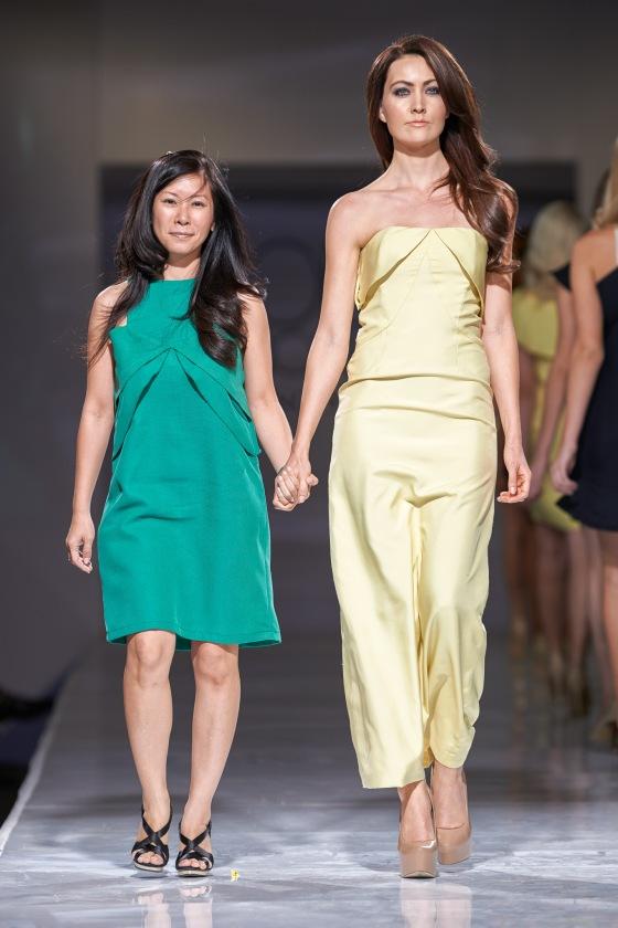 Dora Yim in teal dress