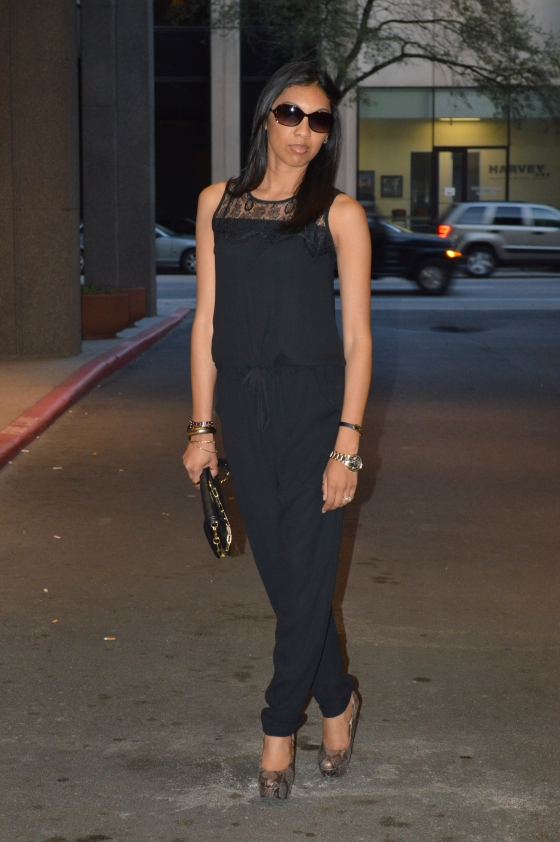 jumpsuit- Nanette Lepore (old), wedges- Justfab.com, bracelets- Abercrombie, ALDO, the jewelry store, rings- Q, watch- francesca's