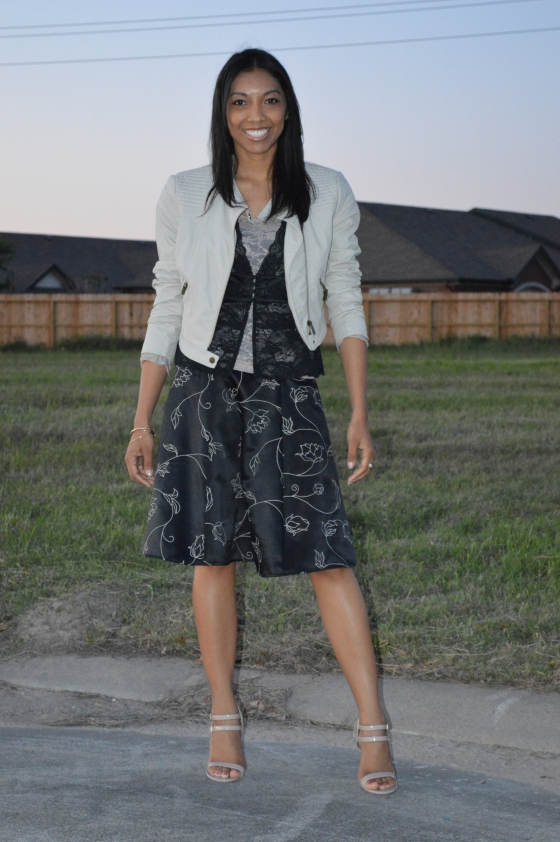jacket- Guess, lace top- Dillard's, skirt- White House Black Market, heels- Steve Madden