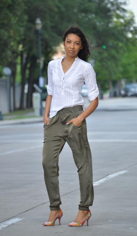 top - Express, pant - AX, heels - Anne Klein