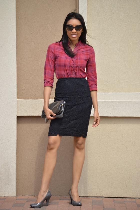 top, skirt, clutch & heels - Target, sunnies - Buffalo Exchange