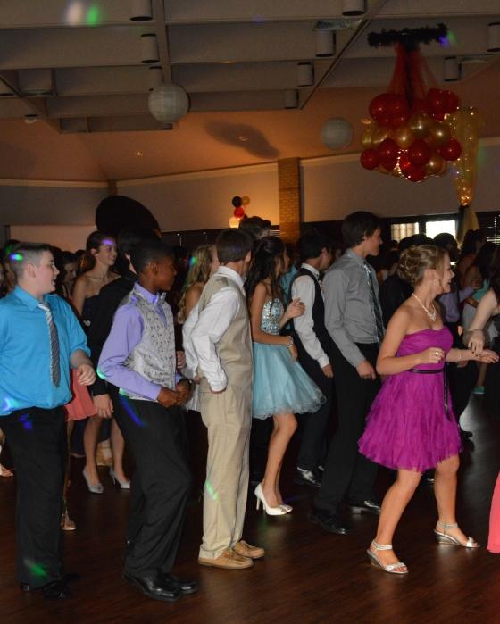 On the dance floor!