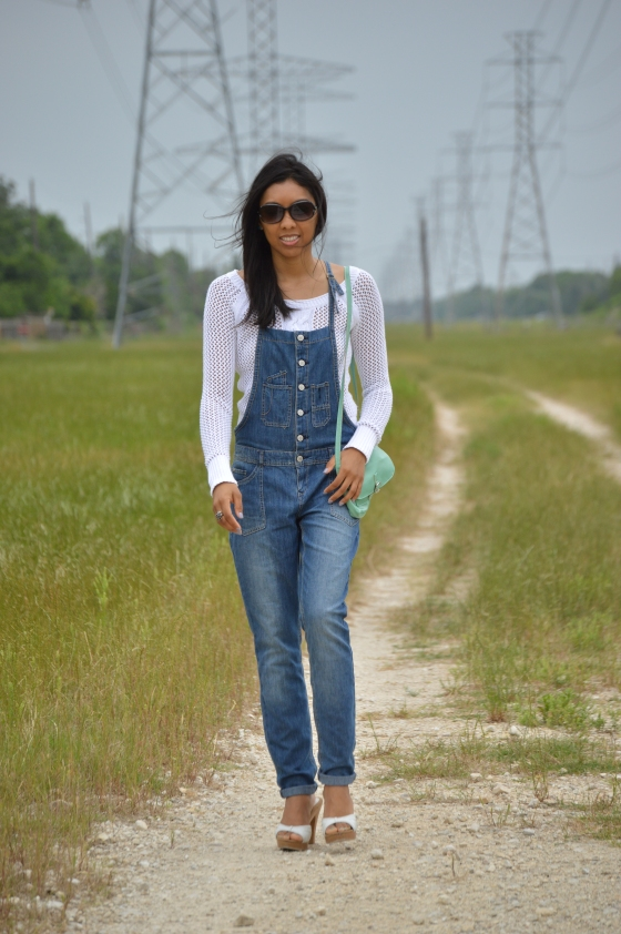overalls- Wyldehart, knit- Aeropostle, heels- Charolette Russe, accessories- H & M
